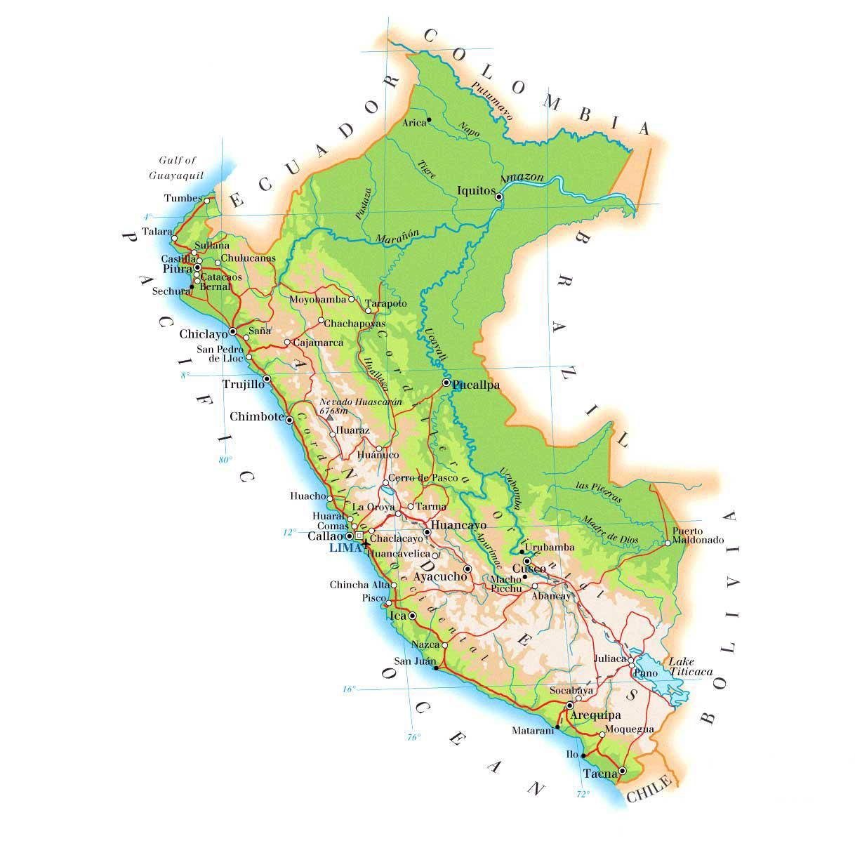 Fyysinen Kartta Peru Kartta Fyysinen Kartta Peru Etela Amerikka