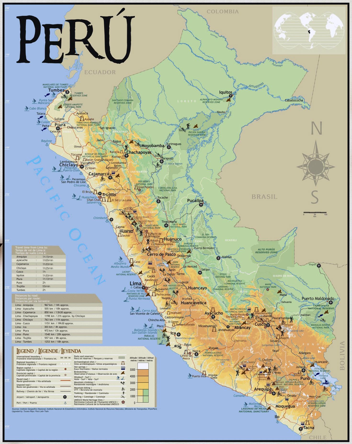 Peru Travel Map Kartta Perun Matkailu Etela Amerikka Amerikka