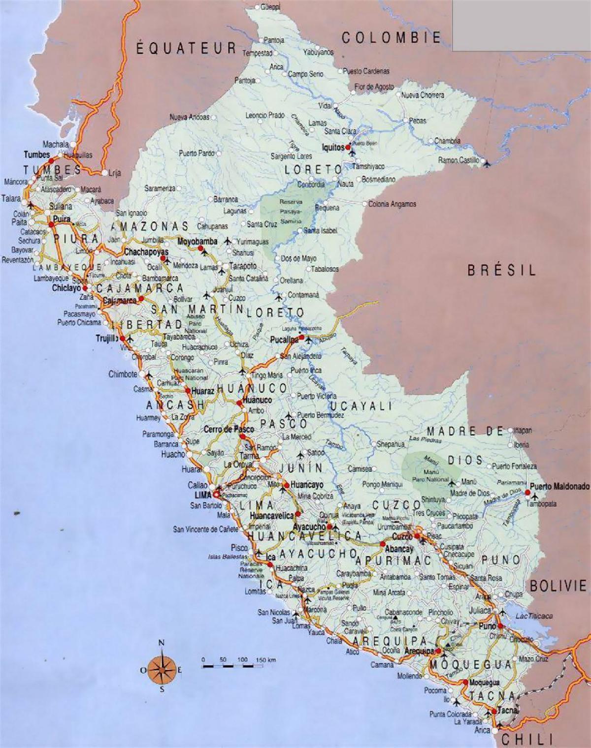 Peru Kaupunkien Kartta Kartta Perun Kaupungeista Etela Amerikka